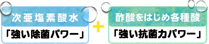 次亜塩素酸水(強い除菌パワー)+ 酢酸をはじめ各種酸(強い抗菌力パワー)